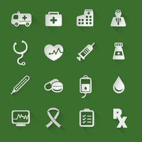 Medicinska platta ikoner vektor