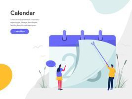 Kalender-Illustrations-Konzept. Modernes flaches Konzept des Entwurfes des Webseitenentwurfs für Website und bewegliche Website Vektorillustration ENV 10