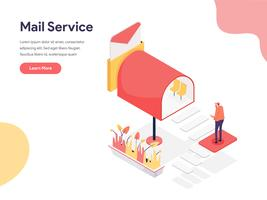 Mail Service Illustration Concept. Isometrisk designkoncept för webbdesign för webbplats och mobilwebbplats. Vektorns illustration