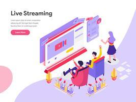 Målsida mall för Live Streaming Isometric Illustration Concept. Isometrisk plattformkoncept för webbdesign för webbplats och mobilwebbplats. Vektorns illustration