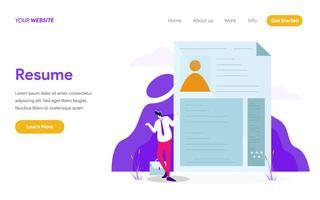 Landingpage-Vorlage von Resume Illustration Concept. Modernes flaches Konzept des Entwurfes des Webseitendesigns für Website und bewegliche Website Auch im corel abgehobenen Betrag