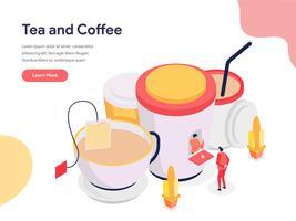 Tee- und Kaffee-Illustrations-Konzept. Isometrisches Konzept des Entwurfes des Webseitenentwurfs für Website und bewegliche Website Auch im corel abgehobenen Betrag