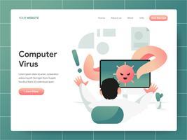 Computervirus-Illustrations-Konzept. Modernes Konzept des Entwurfes des Webseitenentwurfs für Website und bewegliche Website. Vektorillustration ENV 10