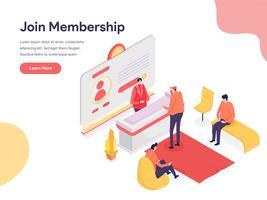 Medlemskap Illustration Concept. Isometrisk designkoncept för webbdesign för webbplats och mobilwebbplats. Vektorns illustration vektor