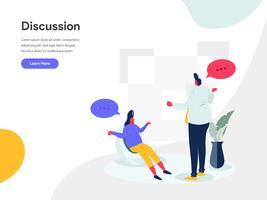 Diskussions-Illustrations-Konzept. Modernes flaches Konzept des Entwurfes des Webseitenentwurfs für Website und bewegliche Website Vektorillustration ENV 10