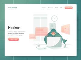 Hacker-Illustrations-Konzept. Modernes Konzept des Entwurfes des Webseitenentwurfs für Website und bewegliche Website. Vektorillustration ENV 10