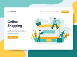 Målsida mall för Online Shopping Illustration Concept. Modernt plattdesignkoncept av webbdesign för webbplats och mobilwebbplats. Vektorns illustration