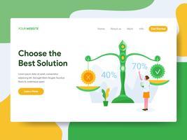 Målsida mall av Välj det bästa lösningsuppsättningskonceptet. Modernt plattdesign koncept av webbdesign för webbplats och mobil website.Vector illustration