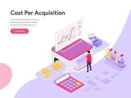 Målsidans mall för Isometric Illustration Concept för kostnad per förvärv. Isometrisk plattformkoncept för webbdesign för webbplats och mobilwebbplats. Vektorns illustration