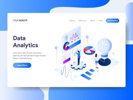 Målsida mall för dataanalys för dataanalys. Isometrisk plattformkoncept för webbdesign för webbplats och mobilwebbplats. Vektorns illustration