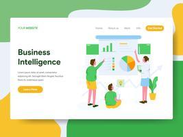 Målsida mall för Business Intelligence Illustration Concept. Modernt plattdesign koncept av webbdesign för webbplats och mobil website.Vector illustration