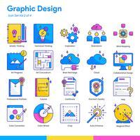 Grafikdesign-Icon-Set. Linien- und Flachfarbenstil. Vektor EPS 10
