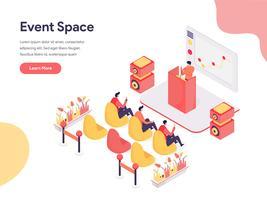 Ereignis-Raum-Illustrations-Konzept. Isometrisches Konzept des Entwurfes des Webseitenentwurfs für Website und bewegliche Website Auch im corel abgehobenen Betrag