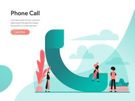 Telefonanruf Illustration Konzept. Modernes flaches Konzept des Entwurfes des Webseitenentwurfs für Website und bewegliche Website Vektorillustration ENV 10