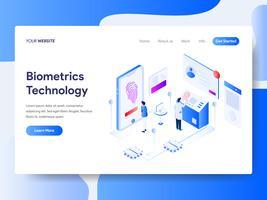 Målsida mall för Biometrics Technology Isometric Illustration Concept. Isometrisk plattformkoncept för webbdesign för webbplats och mobilwebbplats. Vektorns illustration