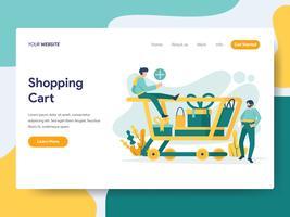 Målsidans mall i kundvagnens koncept. Modernt plattdesignkoncept av webbdesign för webbplats och mobilwebbplats. Vektorns illustration