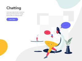 Chat-Illustration-Konzept. Modernes flaches Konzept des Entwurfes des Webseitenentwurfs für Website und bewegliche Website Vektorillustration ENV 10