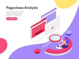 Målsida mall för Sidvisningar Analys Isometrisk Illustration Koncept. Isometrisk plattformkoncept för webbdesign för webbplats och mobilwebbplats. Vektorns illustration vektor