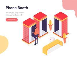Telefonbooth Illustration Concept. Isometrisk designkoncept för webbdesign för webbplats och mobilwebbplats. Vektorns illustration vektor