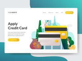 Målsida mall för tillämpa kreditkort illustration koncept. Modernt plattdesignkoncept av webbdesign för webbplats och mobilwebbplats. Vektorns illustration