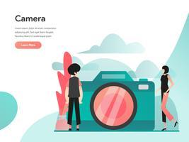 Kamera-Illustrations-Konzept. Modernes flaches Konzept des Entwurfes des Webseitenentwurfs für Website und bewegliche Website Vektorillustration ENV 10