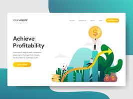 Målsida mall för att uppnå lönsamhetsillustrationskonceptet. Modernt plattdesignkoncept av webbdesign för webbplats och mobilwebbplats. Vektorns illustration