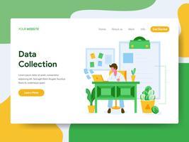 Målsida mall för Data Collection Illustration Concept. Modernt plattdesign koncept av webbdesign för webbplats och mobil website.Vector illustration vektor