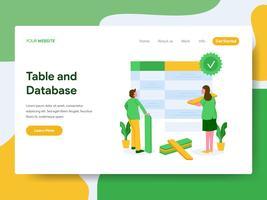Målsida mall för tabell och databas illustration koncept. Modernt plattdesign koncept av webbdesign för webbplats och mobil website.Vector illustration