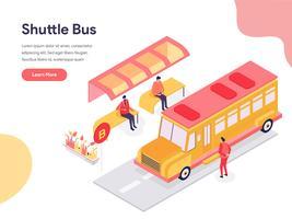 Shuttle Bus Illustration Concept. Isometrisk designkoncept för webbdesign för webbplats och mobilwebbplats. Vektorns illustration