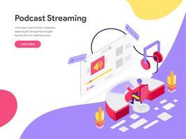 Zielseitenschablone des Podcasts isometrisches Illustrations-Konzept strömend. Isometrisches flaches Konzept des Entwurfes des Webseitendesigns für Website und bewegliche Website Auch im corel abgehobenen Betrag