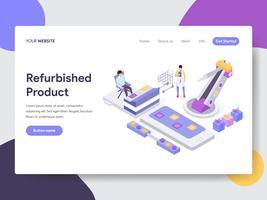 Målsida mall för renoverad produktillustrationskoncept. Isometrisk plattformkoncept för webbdesign för webbplats och mobilwebbplats. Vektorns illustration