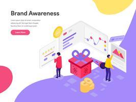 Målsida mall för varumärkesmedvetenhetskoncept. Isometrisk plattformkoncept för webbdesign för webbplats och mobilwebbplats. Vektorns illustration
