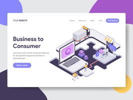 Målsida mall för Business to Consumer Illustration Concept. Isometrisk plattformkoncept för webbdesign för webbplats och mobilwebbplats. Vektorns illustration