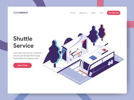 Landing Page Template von Shuttle Service Illustration Konzept. Isometrisches flaches Konzept des Entwurfes des Webseitendesigns für Website und bewegliche Website Vektorillustration ENV 10