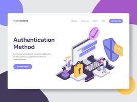 Målsida mall för online shoppinggodkännande Metod Illustration Concept. Isometrisk plattformkoncept för webbdesign för webbplats och mobilwebbplats. Vektorns illustration vektor