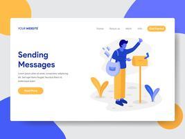 Målsida mall för Deliveryman med brevlåda illustration koncept. Modernt plattdesignkoncept av webbdesign för webbplats och mobilwebbplats. Vektorns illustration