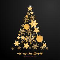 Grußkarte der frohen Weihnachten und des guten Rutsch ins Neue Jahr im Papierschnitt-Arthintergrund. Vector Illustration Weihnachtsfeier-Schneeflockenbaum auf Hintergrund für Fahne, Flieger, Plakat, Tapete, Schablone.
