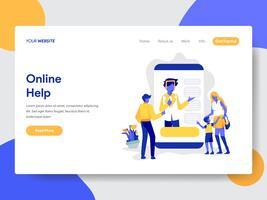 Målsida mall för online hjälp illustration koncept. Modernt plattdesignkoncept av webbdesign för webbplats och mobilwebbplats. Vektorns illustration