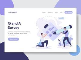 Målsida mall för Frågor och Svar Survey Illustration Concept. Modernt plattdesignkoncept av webbdesign för webbplats och mobilwebbplats. Vektorns illustration
