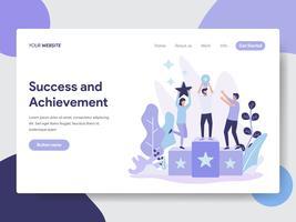 Målsida mall för framgång och prestation illustration koncept. Modernt plattdesignkoncept av webbdesign för webbplats och mobilwebbplats. Vektorns illustration