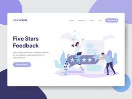 Målsida mall av Five Stars Feedback Illustration Concept. Modernt plattdesignkoncept av webbdesign för webbplats och mobilwebbplats. Vektorns illustration