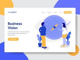 Målsida mall Affärsman med Vision och Kompass Illustration Concept. Modernt plattdesignkoncept av webbdesign för webbplats och mobilwebbplats. Vektorns illustration