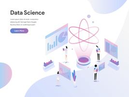 Målsida mall för datavetenskaplig isometrisk illustrationkoncept. Plattformkoncept av webbdesign för webbplats och mobilwebbplats. Vektorns illustration