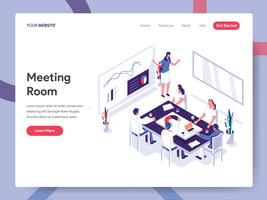 Målsidans mall för mötesrums illustrationkoncept. Isometrisk plattformkoncept för webbdesign för webbsidor och mobilwebbplats. Vector illustration EPS 10