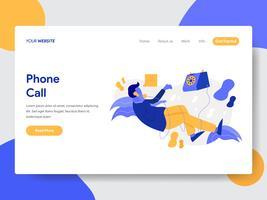 Målsida mall av Affärsman på Telefon Call Illustration Concept. Modernt plattdesignkoncept av webbdesign för webbplats och mobilwebbplats. Vektorns illustration
