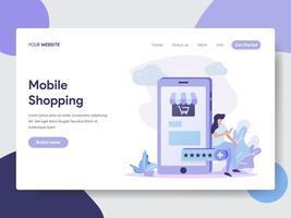 Målsida mall av Kvinna på mobil gör online Shopping illustration Koncept. Modernt plattdesignkoncept av webbdesign för webbplats och mobilwebbplats. Vektorns illustration