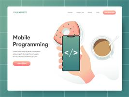 Mobile Programmierung Illustration Konzept. Modernes Konzept des Entwurfes des Webseitenentwurfs für Website und bewegliche Website. Vektorillustration ENV 10