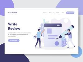 Månad för målsida Skriv recension Produktionsbegrepp. Modernt plattdesignkoncept av webbdesign för webbplats och mobilwebbplats. Vektorns illustration