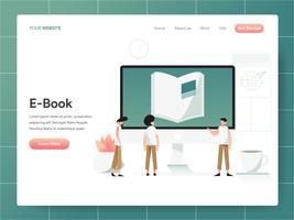 E-Book-Illustration-Konzept. Modernes Konzept des Entwurfes des Webseitenentwurfs für Website und bewegliche Website. Vektorillustration ENV 10