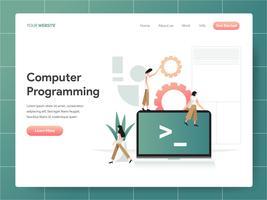 Datorprogrammering Illustration Concept. Modern designkoncept av webbdesign för webbplats och mobilwebbplats. Vector illustration EPS 10